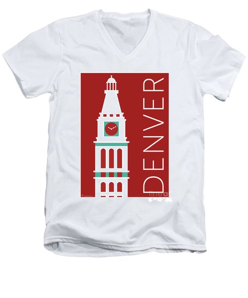 Denver D And F Tower/maroon Men's V-Neck T-Shirt