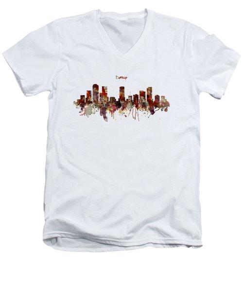 Denver Skyline Silhouette Men's V-Neck T-Shirt