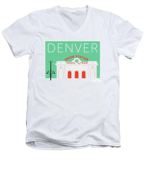 Denver Union Station/aqua Men's V-Neck T-Shirt