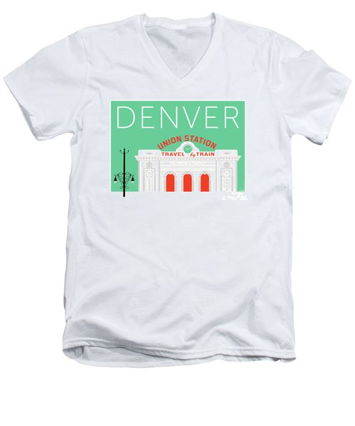 Denver Union Station/aqua Men's V-Neck T-Shirt