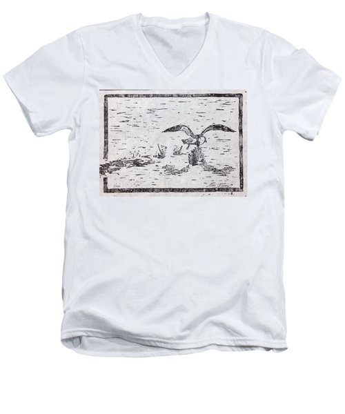 Departure Woodcut  Men's V-Neck T-Shirt