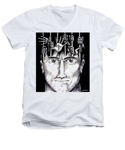 Deprivation Of Freedom Of Expression Men's V-Neck T-Shirt by Paulo Zerbato