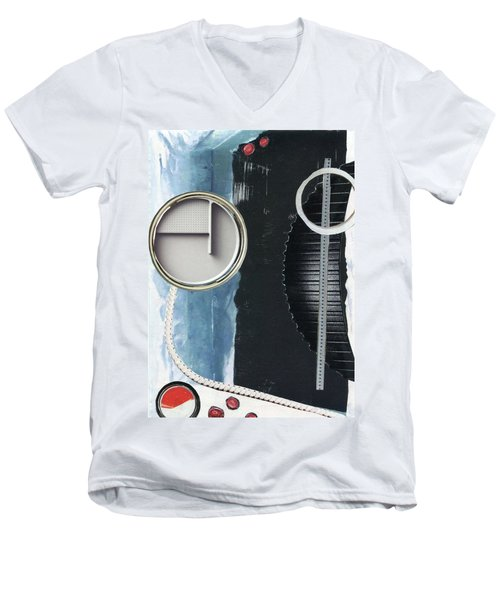 Men's V-Neck T-Shirt featuring the painting Depth Onto Space by Michal Mitak Mahgerefteh