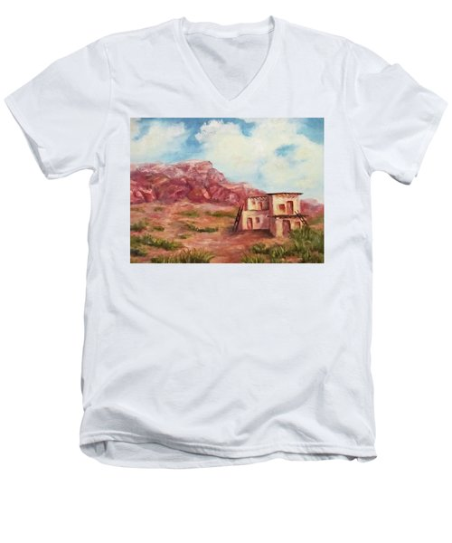 Men's V-Neck T-Shirt featuring the painting Desert Pueblo by Roseann Gilmore