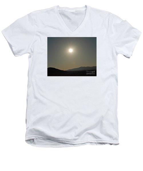 Men's V-Neck T-Shirt featuring the digital art Desert Sun by Walter Chamberlain