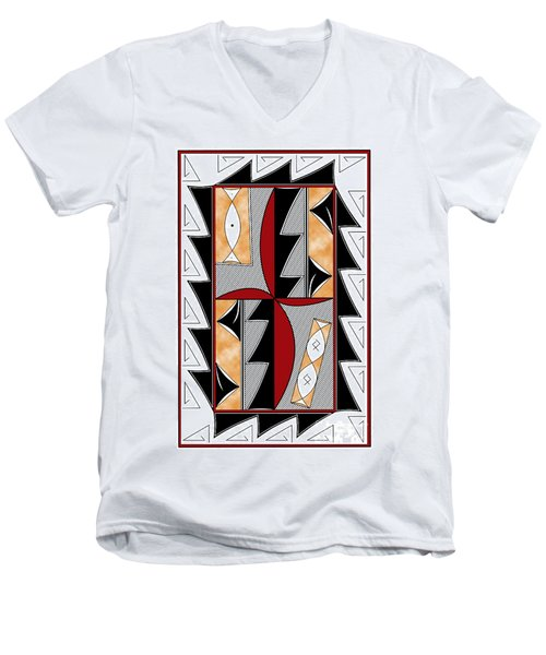 Southwest Collection - Design One In Red Men's V-Neck T-Shirt