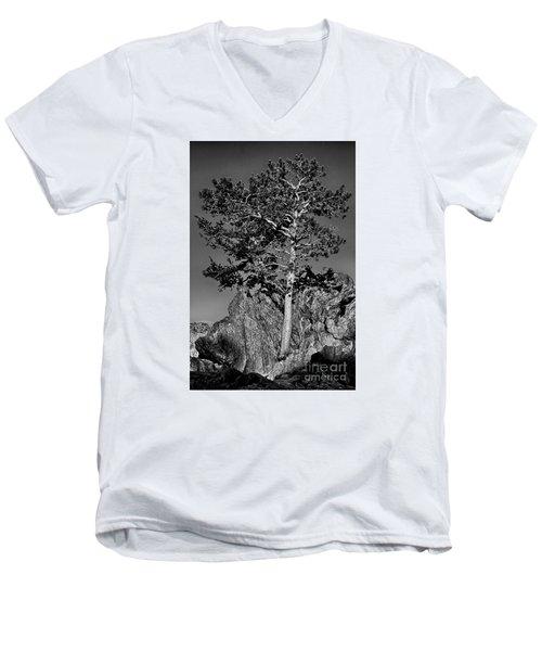 Determined, Monochrome Men's V-Neck T-Shirt