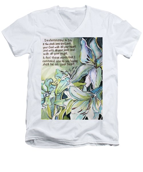 Men's V-Neck T-Shirt featuring the painting Deuteronomy 6 5-6 by Mindy Newman
