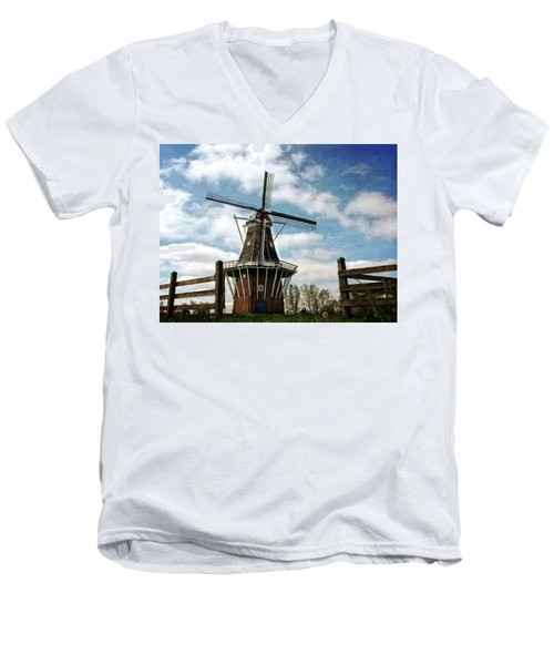 Dezwaan Windmill With Fence And Clouds Men's V-Neck T-Shirt