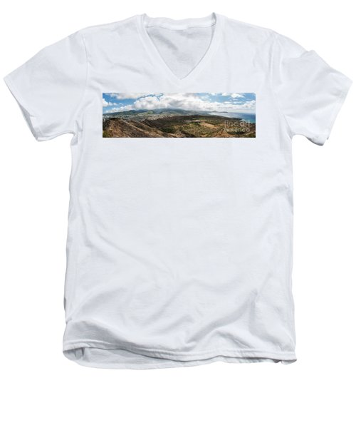 Diamond Head View Panoramic Men's V-Neck T-Shirt