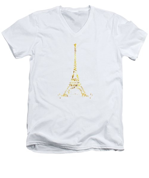 Digital-art Eiffel Tower - White And Golden Men's V-Neck T-Shirt