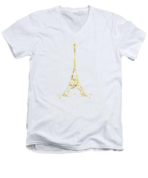 Digital-art Eiffel Tower - White And Golden Men's V-Neck T-Shirt