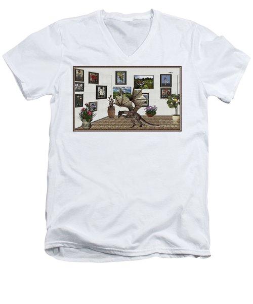 Digital Exhibition _ Dragon Men's V-Neck T-Shirt by Pemaro