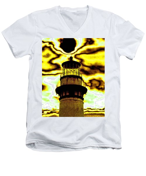Dimensional Transfer Station Men's V-Neck T-Shirt by Bob Wall