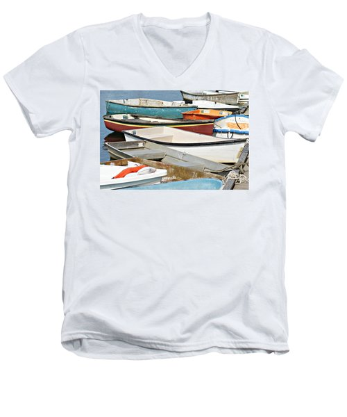 Dinghys At Bearskin Neck Men's V-Neck T-Shirt