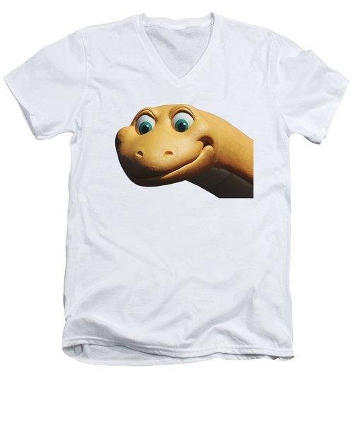 Dino Men's V-Neck T-Shirt by Debbie Oppermann