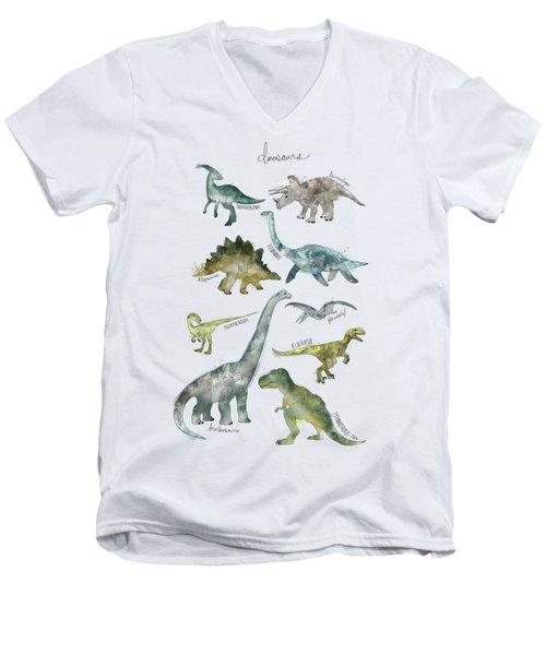 Dinosaurs Men's V-Neck T-Shirt by Amy Hamilton