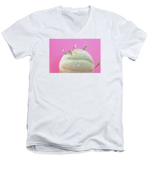 Men's V-Neck T-Shirt featuring the painting Dirty Cleaning On Sweet Melon II Little People On Food by Paul Ge