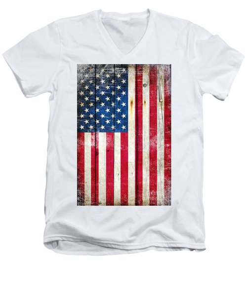 Distressed American Flag On Wood - Vertical Men's V-Neck T-Shirt by M L C