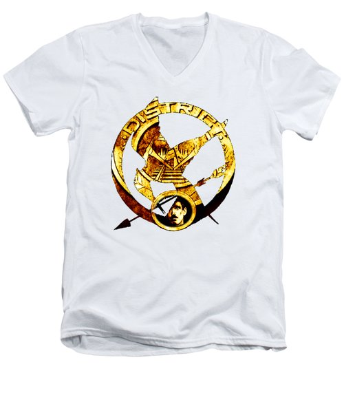 Men's V-Neck T-Shirt featuring the photograph District 12 T-shirt by Kathy Kelly