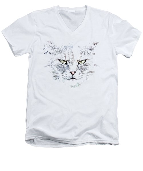Men's V-Neck T-Shirt featuring the photograph Disturbed Cat by Everet Regal
