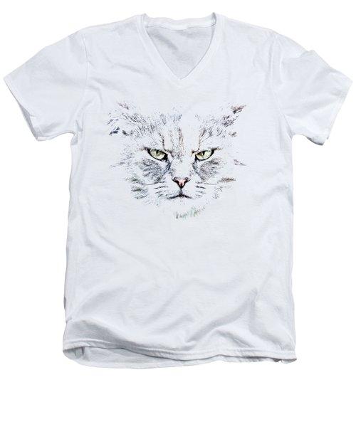 Disturbed Cat Men's V-Neck T-Shirt