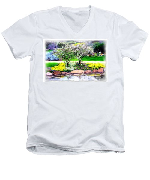 Men's V-Neck T-Shirt featuring the photograph Do-00066 Lake Walk by Digital Oil