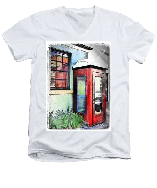 Do-00091 Telephone Booth In Morpeth Men's V-Neck T-Shirt by Digital Oil
