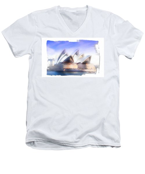 Men's V-Neck T-Shirt featuring the photograph Do-00109 Opera House by Digital Oil