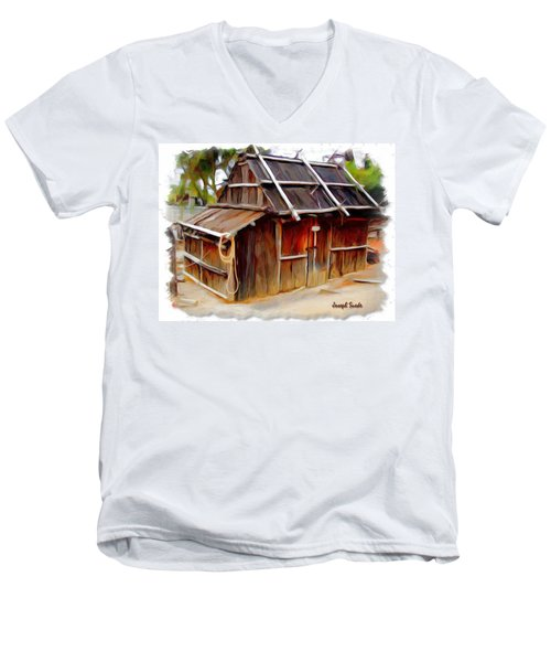 Men's V-Neck T-Shirt featuring the photograph Do-00129 Old Cottage by Digital Oil
