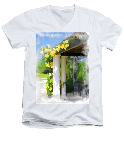 Men's V-Neck T-Shirt featuring the photograph Do-00137 Yellow Roses by Digital Oil