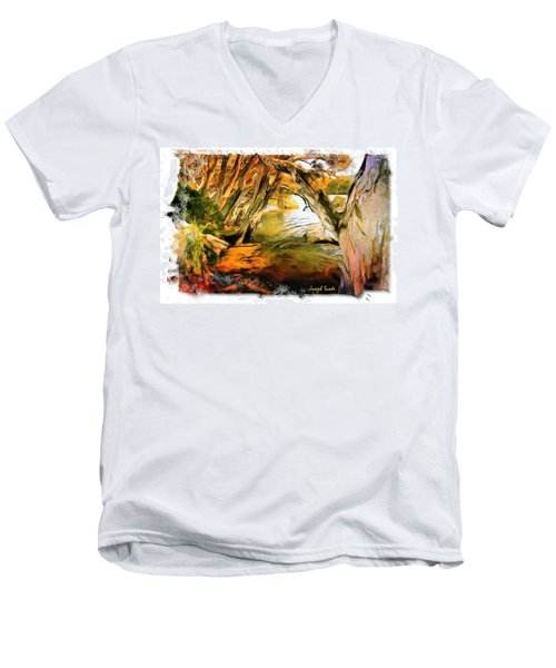 Men's V-Neck T-Shirt featuring the photograph Do-00268 Trees On Water In Avoca Estuary by Digital Oil