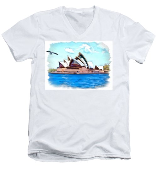 Men's V-Neck T-Shirt featuring the photograph Do-00293 Sydney Opera House by Digital Oil