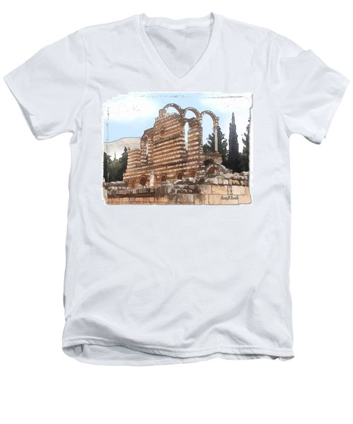 Do-00302 Ruins In Anjar Men's V-Neck T-Shirt