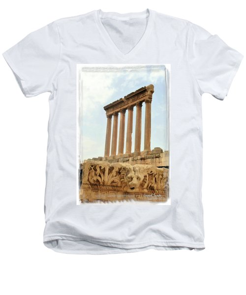 Do-00314 The 6 Corinthian Columns In Baalbeck Men's V-Neck T-Shirt by Digital Oil