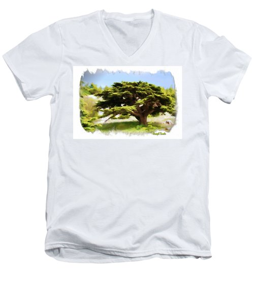Do-00319 Cedar Tree Men's V-Neck T-Shirt
