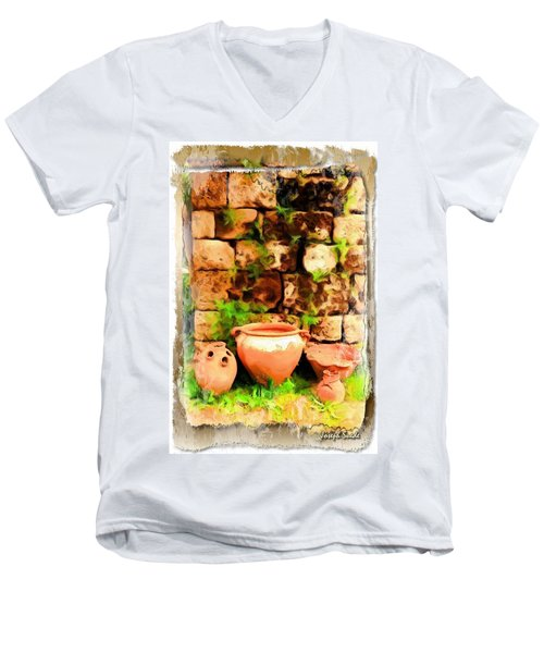 Men's V-Neck T-Shirt featuring the photograph Do-00348 Jars In Byblos by Digital Oil