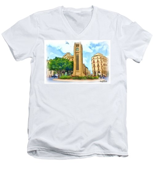 Do-00358 The Clock Tower Men's V-Neck T-Shirt