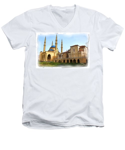 Men's V-Neck T-Shirt featuring the photograph Do-00362al Amin Mosque And St George Maronite Cathedral by Digital Oil