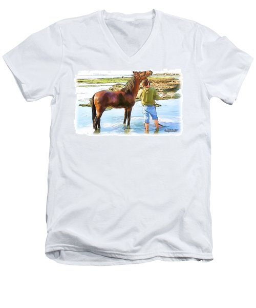 Do-00421 Washing Horse In Mina Men's V-Neck T-Shirt