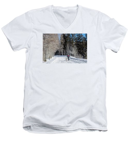 Do They Sell Snow Tires For Bikes Men's V-Neck T-Shirt by Carol M Highsmith