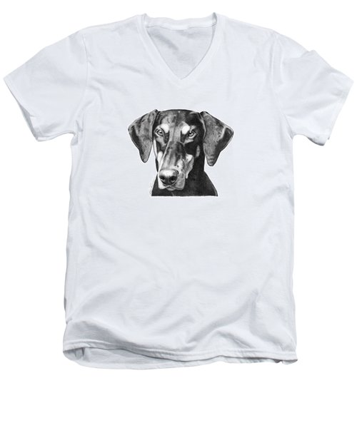 Men's V-Neck T-Shirt featuring the drawing Doberman by Abbey Noelle