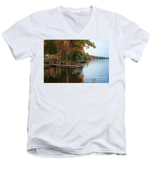 Dock On Lake In Fall Men's V-Neck T-Shirt