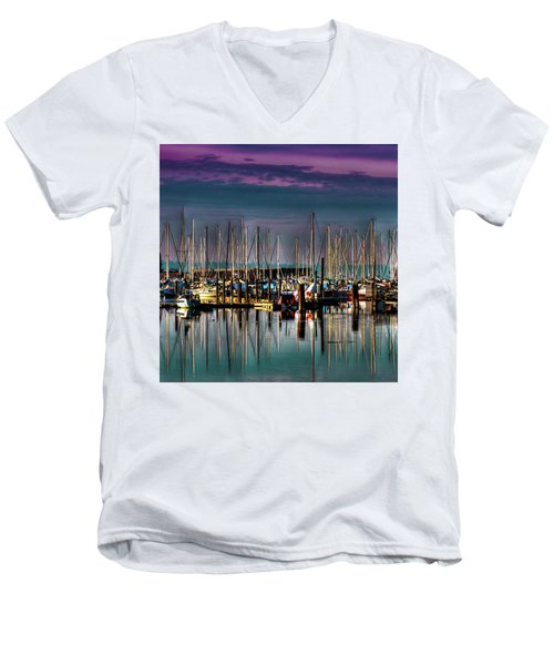 Docked Sailboats Men's V-Neck T-Shirt by David Patterson