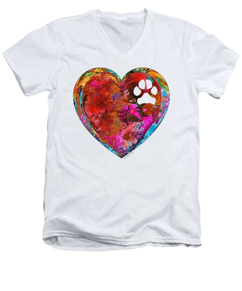 Dog Art - Puppy Love 2 - Sharon Cummings Men's V-Neck T-Shirt by Sharon Cummings