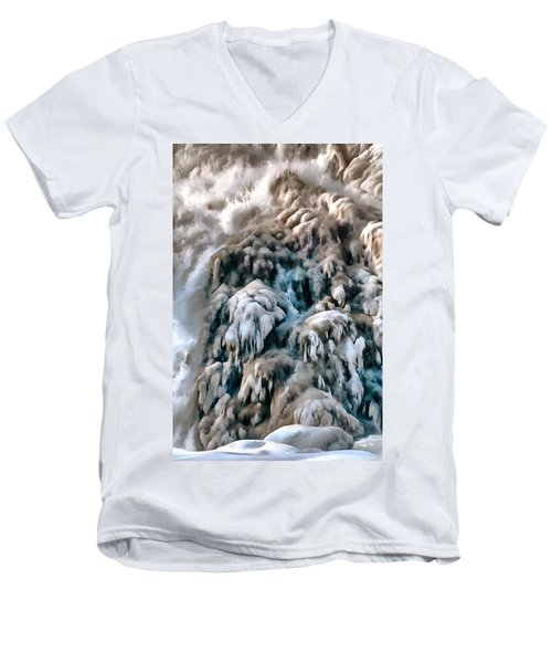Dog Falls Men's V-Neck T-Shirt by Jim Proctor