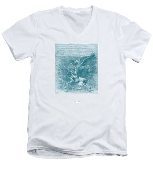 Men's V-Neck T-Shirt featuring the painting Dog Fish by David Davies