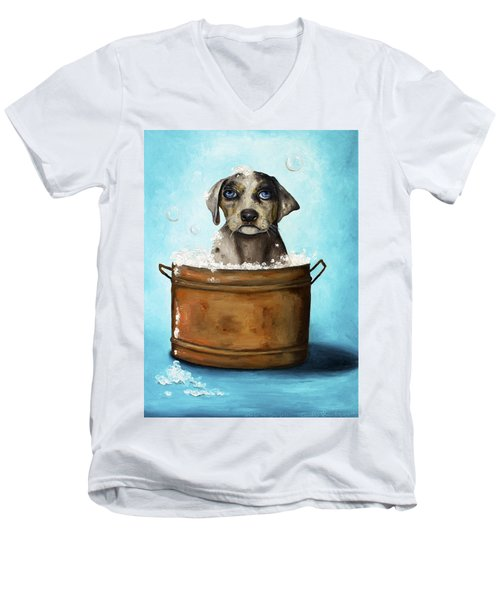 Dog N Suds Men's V-Neck T-Shirt by Leah Saulnier The Painting Maniac