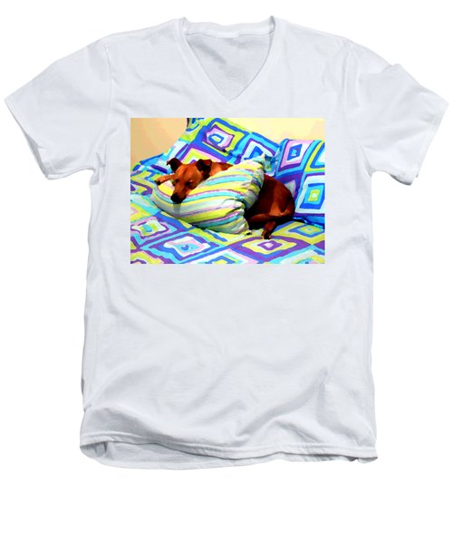 Dog Nap - Oil Effect Men's V-Neck T-Shirt