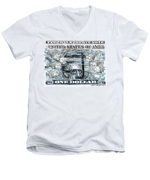 Men's V-Neck T-Shirt featuring the drawing Dollar Submerged by Daryl Cagle